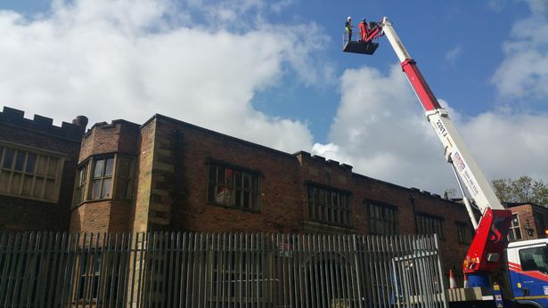 MANCHESTER EVENING NEWS: Emergency Work Begins To Save The Historic Hopwood Hall. 1