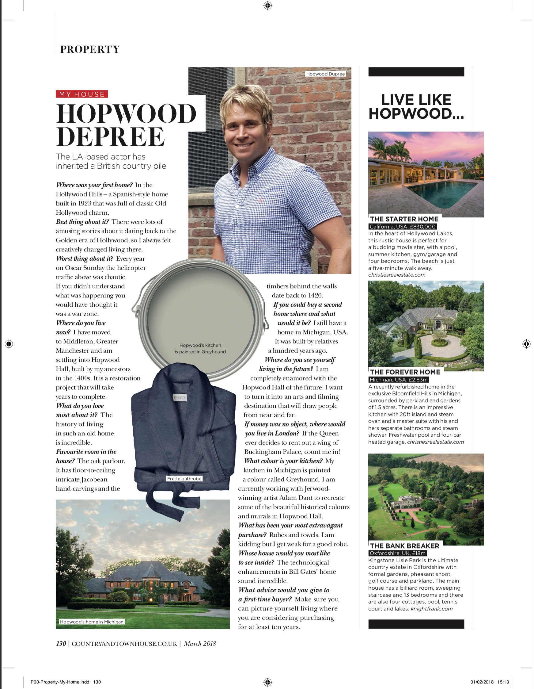COUNTRY and TOWN HOUSE MAGAZINE: An Interview With Hopwood DePree: Hopwood Hall Rochdale
